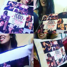 Enamora!conquista!regala con cariño!!! Collage de fotos en cojin terciopelo colores !!!! $10.000 #Decovicio