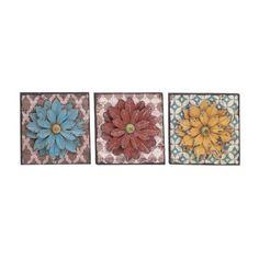 Woodland Imports 3 Piece Unbeatable Metal Flower Wall Décor Set