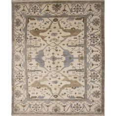 Fine Oushak Parveneh Ivory Hand-knotted Rug