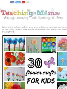 Very clever! Just in time for spring - 30 Flower Crafts for Kids Flower Crafts Kids, Spring Crafts For Kids, Craft Projects For Kids, Craft Activities For Kids, Fun Crafts, Art For Kids, Nature Crafts, Senior Activities, Art Projects