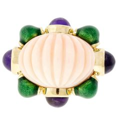 David Webb Enamel Fluted Coral Amethyst Gold Ring | From a unique collection of vintage cocktail rings at https://www.1stdibs.com/jewelry/rings/cocktail-rings/
