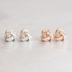 Swarovski Rose Gold Triangle Knot Earrings Studs from kellinsilver.com