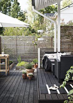 Ruukkuistutuksia on sisällä ja ulkona. Hyötykasvit viihtyvät keittiöpuutarhassa terassin vieressä. Kesällä tehdään ruokaa ulkona grillaten.