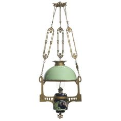 Art Nouveau Majolica Hanging Library Lamp, - Cowan's Auctions ❤ liked on Polyvore featuring home, lighting, furniture, lamps, filler, objects, art nouveau lamp and art nouveau lighting