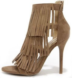 Gypsy Queen Taupe Suede Fringe Dress Sandals