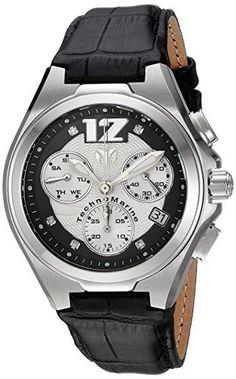 0cc627fd097 Technomarine TM-215017 Unisex Watch 5 White Diamonds Black Leather Strap  Chrono Manta Neo Classic