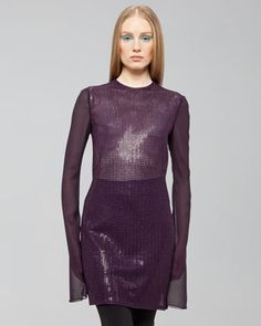 Purple St. Gallen Sequined Dress by Akris at Neiman Marcus Last Call $860