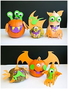 Easy Mix and Match Monster Pumpkins. Fun no carve pumpkin decorating idea for kids!