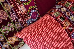 Hand woven and brocaded cotton huipil pillows