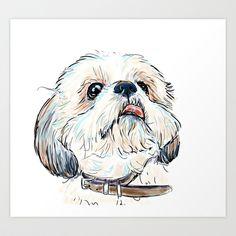 Shihtzu Art Print by Cartoon Your Memories - $22.88
