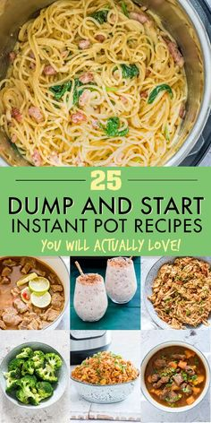 Save time with these easy, no-fuss collection of tried and tested Dump and Start Instant Pot Recipes including a variety of simple & delicious breakfasts, soups and stews, main dishes, side dishes and desserts. Just dump ingredients in your press Best Instant Pot Recipe, Instant Pot Dinner Recipes, Instant Pot Meals, Recipes Dinner, Dinner Ideas, Soup Recipes, Cooking Recipes, Family Recipes, Chicken Recipes