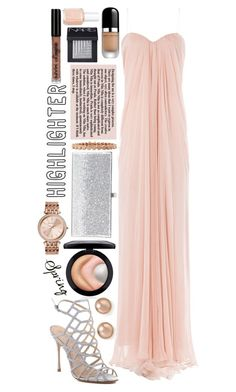 """Highlighter: Contest Entry"" by isquaglia ❤ liked on Polyvore featuring beauty, MAC Cosmetics, Schutz, Alexander McQueen, Bloomingdale's, Eddie Borgo, Michael Kors, Jimmy Choo, Essie and NARS Cosmetics"