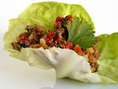 Ginger Pork Lettuce Cups-so amazing! I didn't have peanut oil so stirred in a little peanut butter at the end...Oh my, I am making this again & again!
