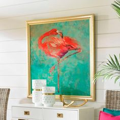 A long flamingo poses like a prima ballerina in our striking Standing Alone    2 Artwork. Rich, vibrant statement-making color defines this fine art    gicl print. It