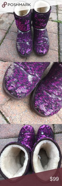 Purple Silver Sequins Ugg Pre owned used. Scuffed and stained.  Look in really nice shape.   See pictures. By moving sequins depends on if more silver or more purple. UGG Shoes Winter & Rain Boots