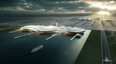 The Boris Island plan, designed by Global firm Gensler. First images of the proposed Thames Estuary airport, London Rio, London Airports, Foster Partners, Island Design, One Image, Planer, The Fosters, How To Plan, Landscape