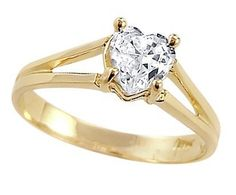 CZ Heart Solitaire Engagement Ring 14k Yellow Gold Cubic Zirconia Jewel Roses. $139.00