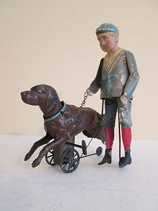 RARE 1900s Germany Tin Wind Up Toy Boy with Dog by Gunthermann or Bing | eBay