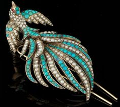 """A Victorian Turquoise and Seed Pearl BroochStylized peacock design brooch set with alternating rows of nugget shape turquoise cabochons and seed pearls, mounted in yellow gold. Nested in a custom fitted presentation box signed """"Muxron Y Cie. Bird Jewelry, Animal Jewelry, Jewelery, Gold Jewellery, Peacock Jewelry, Pearl Jewelry, Jewelry Shop, Jewelry Bracelets, Coral Turquoise"""