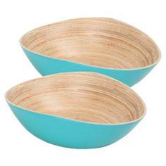 Tanga Bamboo Bowl in Turquoise (Set of 2)