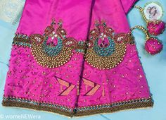 Latest Jeweled Blouse designs for 2019 Vanki Styled Jeweled Blouse Design Netted Blouse Designs, Wedding Saree Blouse Designs, Simple Blouse Designs, Embroidery Neck Designs, Aari Embroidery, Hand Work Blouse Design, Maggam Work Designs, Designer Blouse Patterns, Sleeve Designs