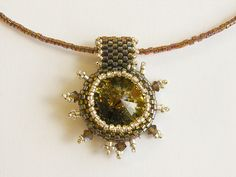 Brown & Silver Rivoli necklace by j3jewelry, via Flickr