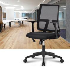 LANGRIA Comfortable Medium Back Mesh Task Office Chair, Ergonomic Design, Mesh Upholstered Seat Pan, Synchro Tilt Mechanism, 360 Degree Swivel, Max Weight Capacity 130kg, Black Back: Amazon.co.uk: Kitchen & Home