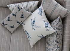Inky Sky and Natural Linen fabric linen fabric linen fabric Linen Fabric, Linen Bedding, Bed Linens, Grey Fabric, Paint And Paper Library, Bed Linen Design, Coastal Living Rooms, Fabric Birds, Luxury Bedding Sets