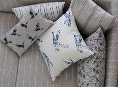 Inky Sky and Natural Linen  #bird fabric   #linen #grey linen #fabric #grey fabric #designer linen #designer fabric #coastal