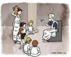 In Ancient Greece the agora was where all the athletic artistic spiritual and political life was taking place. Last week I got to imagine what it could have been like to walk by and stop for a moment to listen to a philosopher. It must have been quite an experience! #illustration #agora #ancientgreece #philosopher #createeveryday #creativelifehappylife #lesson #thinkingabouttheworld #thinking