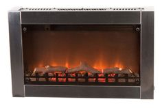 Fire Sense 31 in. Wall-Mount Electric Fireplace in Stainless - The Home Depot Wall Mounted Fireplace, Wall Mount Electric Fireplace, Fireplace Mantle, Wall Fireplaces, Little Dream Home, Home Goods Decor, Light My Fire, Steel Wall, Steel Frame