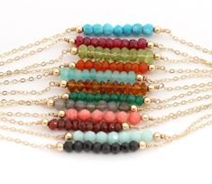Gemstone Bar Necklace Delicate Gold Birthstone by hotmixcold