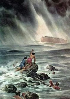 Genesis 7: 20 The waters rose up to 15 cubits above the mountains. 21 So all living creatures that were moving on the earth perished . . . only Noah and those with him in the ark survived. 24 And the waters continued overwhelming the earth for 150 days.