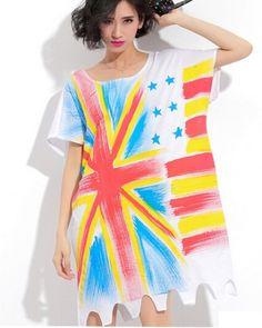 British flag t shirt dress for girls white long t shirts hip hop style