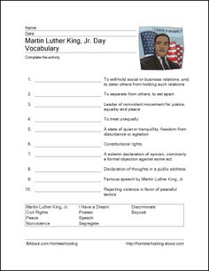Martin Luther King, Jr. Worksheets | Lessons for Winter ...