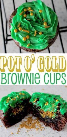 These Pot O' Gold Brownie Cups are sure to please. Not only is the green frosting festive for St. Patrick's Day, but there's also a golden surprise! St Patricks Day Deserts, St Patricks Day Food, Dinner Party Recipes, Dessert Recipes, Pudding Desserts, Cocktail Recipes, Holiday Recipes, Cocktails, Kit Kat Brownies