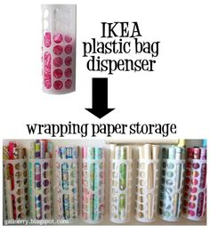Wrapping paper storage using Ikea plastic bag dispensers.  Wonder how many I'd need for all of our rolls...