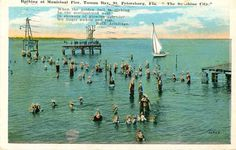 Bathing at Municipal Pier, Tampa Bay [1928]