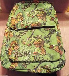 """Nickelodeon Teenage Mutant Ninja Turtles GREEN 16"""" All Over Print Backpack Bag  #Nickelodeon"""