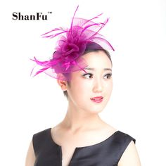 ShanFu Women Designer Mesh Fascinator Flower Accent Wedding Hair Accessories White Church Tea party Fascinator Headband SFD2782