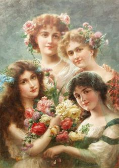 Girls by Emile Vernon Handmade oil painting reproduction on canvas for sale,We can offer Framed art,Wall Art,Gallery Wrap and Stretched Canvas,Choose from multiple sizes and frames at discount price. Victorian Pictures, Vintage Pictures, Vintage Images, Victorian Art, Victorian Women, Vernon, Munier, Foto Art, Oil Painting Reproductions