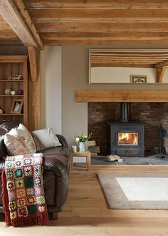 Border Oak - Cottage Interior with inglenook fireplace. Light wood, space of inglenook for a woodburner Cottage Living Rooms, New Living Room, Home And Living, Log Burner Living Room, Living Room Wall Colours, Room Colors, Country Fireplace, Inglenook Fireplace, Fireplaces