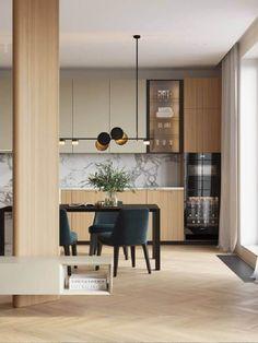 Luminária Moderna: Conheça os Modelos +63 Inspirações para sua Decoração Kitchen Room Design, Kitchen Sets, Modern Kitchen Design, Interior Design Kitchen, Kitchen Decor, Modern Kitchen Interiors, Cuisines Design, Apartment Interior, Modern Interior Design