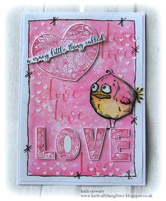 Simon Says Stamp Monday Challenge - 7 January 2019 - Use Something New, using SSS Ornate Love, Falling Hearts Stencil and Tim Holtz/Stampers Anonymous Bird Crazy and matching Sizzix Framelits Atc Cards, Bird Cards, Card Tags, Valentine Love Cards, Valentines, Crazy Bird, Crazy Friends, Artist Trading Cards, Cool Cards