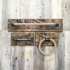 This industrial, rustic, one of a kind bathroom set includes 3 items... a big rope towel holder, a circle rope towel holder and a pipe toilet paper holder, all on wood. The neat combination of wood, steel pipe and rustic rope will make everyone stop, stare and wonder!  Overview: *Handmade item, unused. The item may have slightly color variation than it is in a photo. *Materials - wood, steel pipe, natural rope *Made to order *Ships from Morton Grove, IL.  Order: All items are fully assembled…