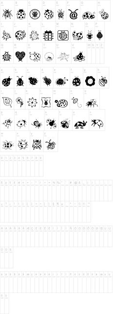 Ladybug Dings font - free dingbat font at dafont.com ~ awesome ladybug sketch icon charcters