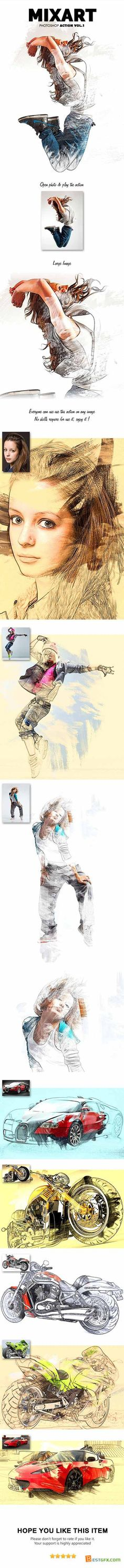 Graphicriver MixArt Photoshop Action Vol.1 12058155