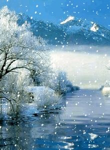 WINTER SNOW LANDSCAPE, WATER REFLECTION GIF