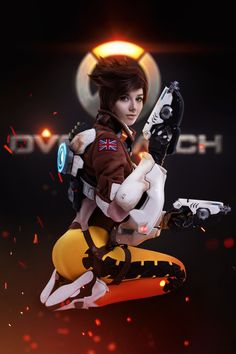 Tracer - Overwatch by Hoteshi Comic Con Cosplay, Epic Cosplay, Cosplay Girls, Awesome Cosplay, Tracer Art, Overwatch Fan Art, Overwatch Genji, Cool Costumes, Cosplay Costumes