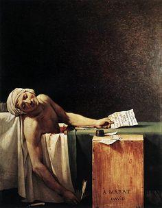Jacque.- Louis David, La morte di Marat, 1793 IL NEOCLASSICISMO FRANCESE: L'arte è rappresentante dei nuovi valori politici, sociali e civili, e, come la gestione dello stato, si avvale della Razionalità. L'artista è politicamente impegnato. David, in particolare, è pienamente coinvolto all'inizio della Rivoluzione e poi vittima delle prime delusioni. Rivoluzione: tra drammaticità, entusiasmo, mitizzazione e razionalità